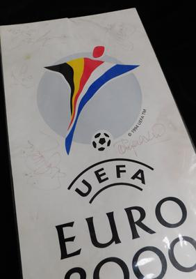Signed Euro 2000 board-including Clive Tyldsley