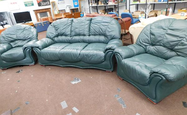 Leather 2 seater settee + 2 armchairs in bottle green