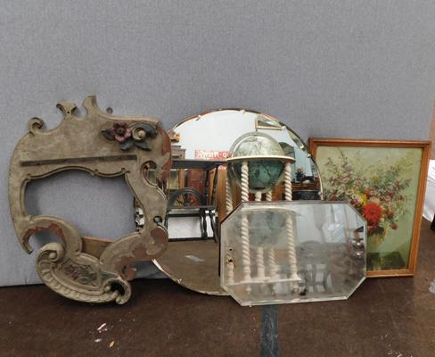 Selection of vintage bevel edge mirrors, frame & picture