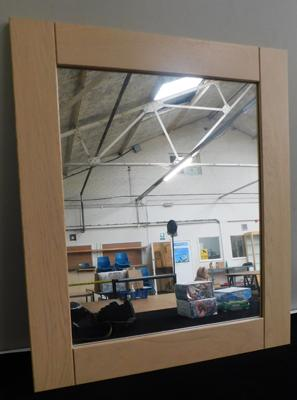Solid oak framed mirror - 23 1/2 x 23 1/2 inches - all proceeds to Bradford Hospitals Charity - Childrens Diabetes Ward