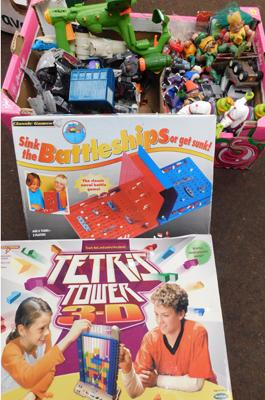 Box of Toys, incl. Tetris Tower, Battleships & Transformers
