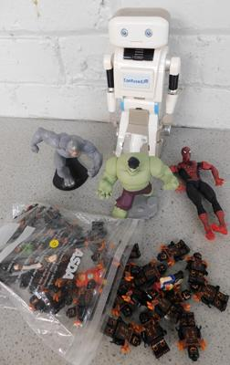 Collection of Marvel toys, Lego toys & Confused robot