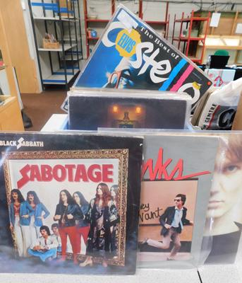 Box of about 40 LPs & 12 inch singles, incl. Black Sabbath, Kinks, Wings, House of Love, Costello, Big Country
