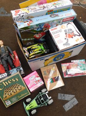 Box of toys,  many new, incl. Henry vac & Star Wars Rogue One
