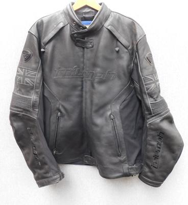 Triumph leather motorcycle jacket with quilted removable lining, size L