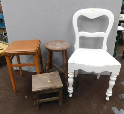 Selection of 4 vintage stools & chairs