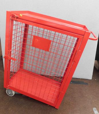 "Red cage 37"" tall (only 2 castors)"