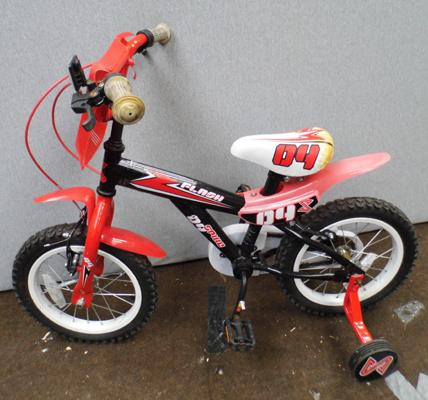 Flash childrens bike with stabilisers