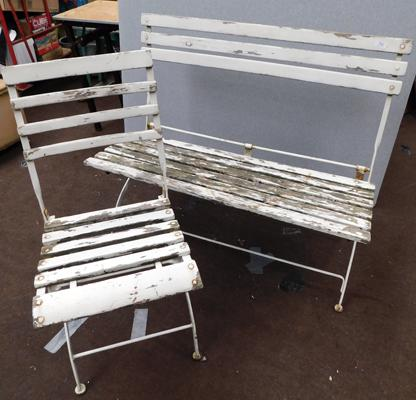Single and double white garden seats