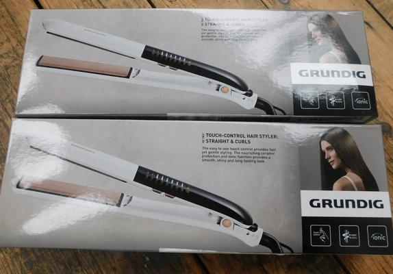 2 pairs of new boxed Grundig touch control hair stylers, straight and curl