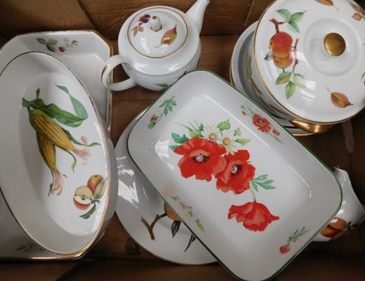 Box of Royal Worcester Evesham + others