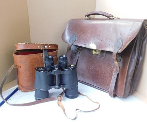 Zenith coated lens binoculars with leather storage case + vintage leather satchel