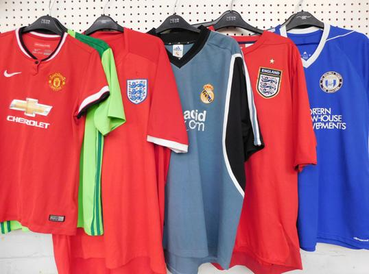 7x Football shirts-Halifax Town, R Madrid, Manchester United, Chelsea, England